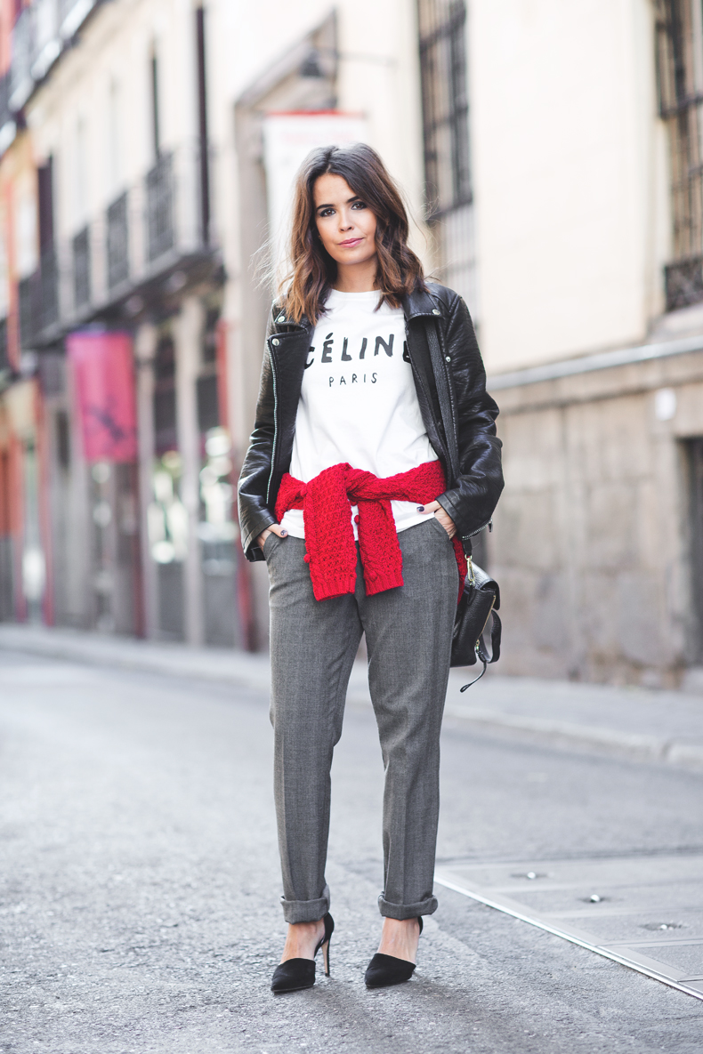 Red and grey outfit by Collage Vintage