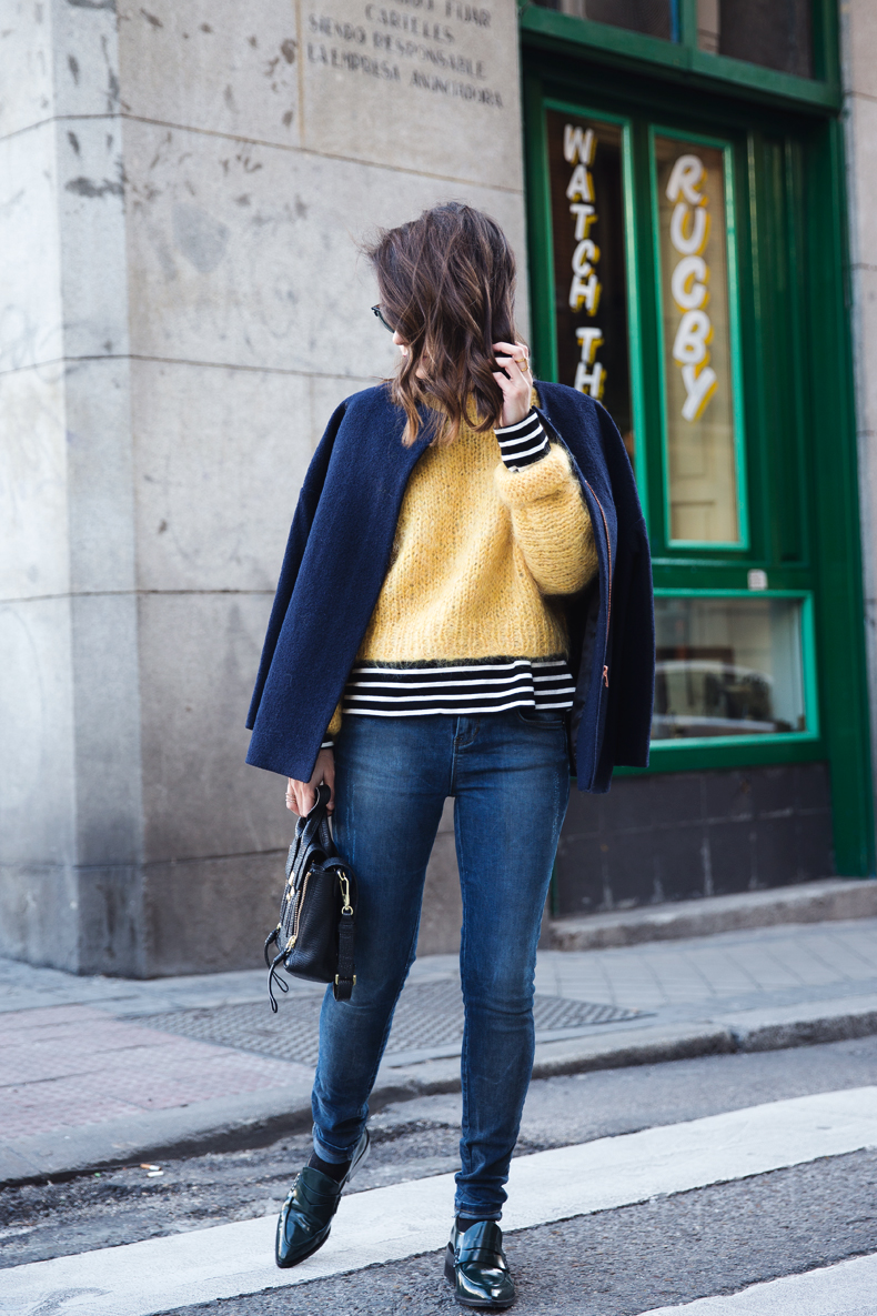 Yellow_Sweater-Striped_Top-Jeans-Flippa_K-Coat-Girissima-Street_Style-Loafers-Outfit-20