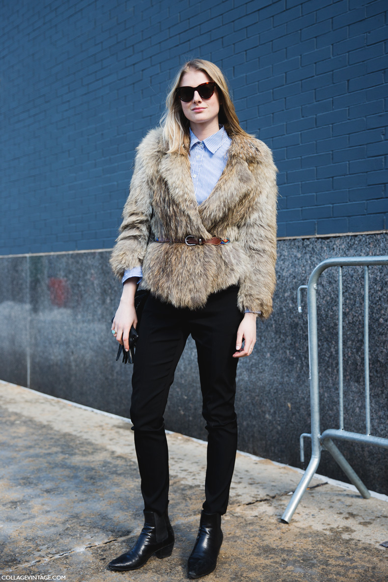 New_York_Fashion_Week-Street_Style-Fall_Winter-2015-Fur_Coat-Striped_Shirt-