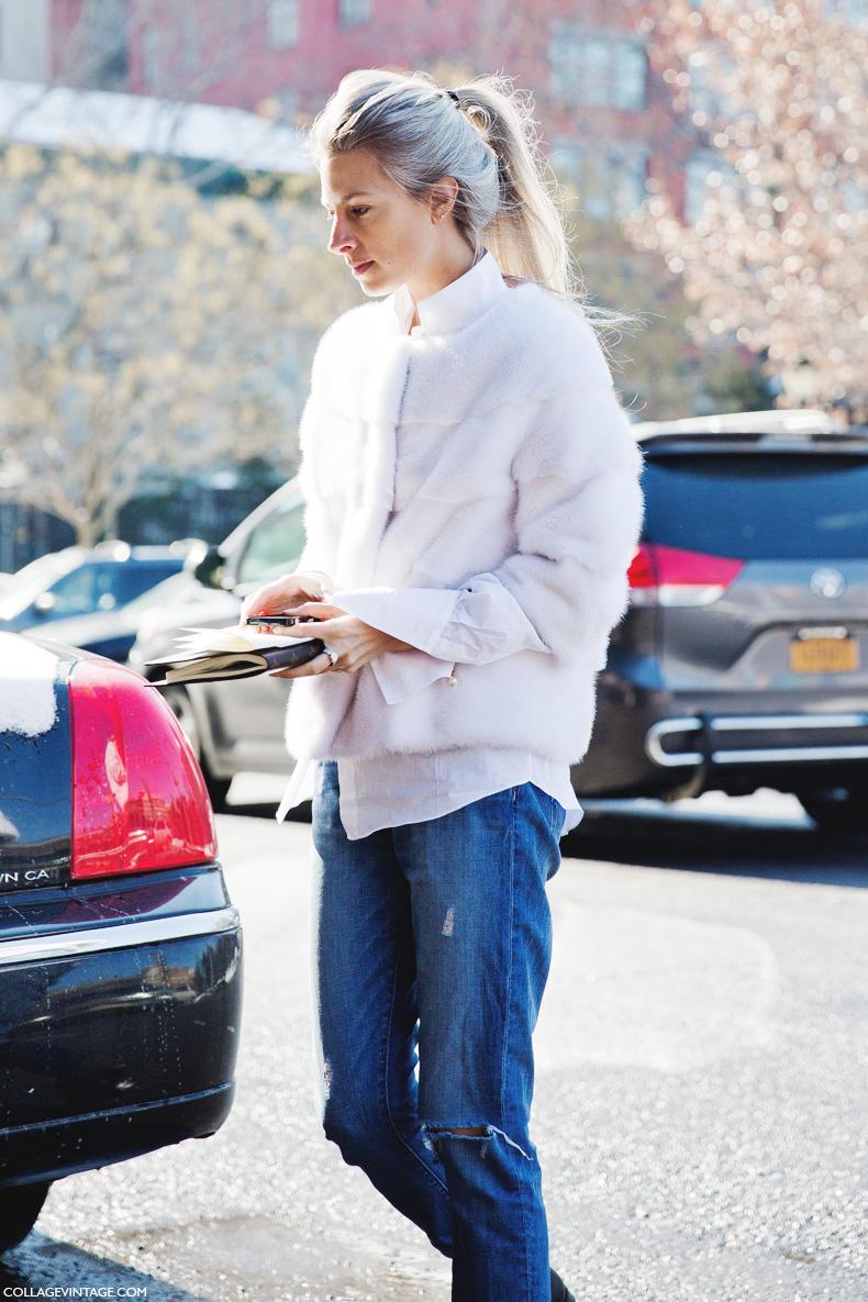 New_York_Fashion_Week-Street_Style-Fall_Winter-2015-Sarah_Harris-White_Fur-Ripped_Jeans-