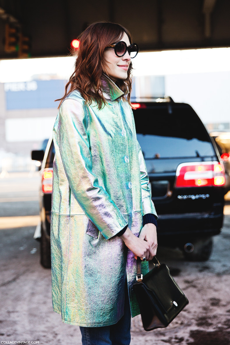 New_York_Fashion_Week-Street_Style-Fall_Winter-2015-Alexa_Chung-Marc_By_Marc_Jacobs-Metallic_Coat-Rounded_Sunglasses-1