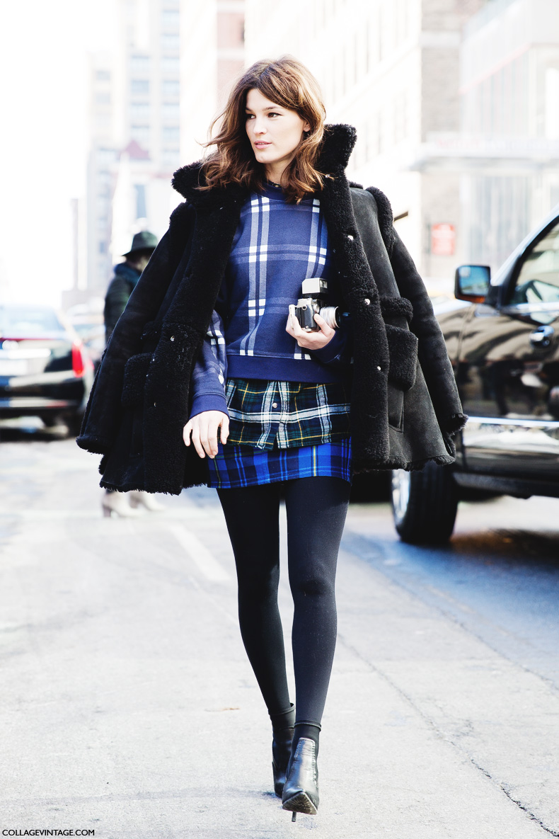 New_York_Fashion_Week-Street_Style-Fall_Winter-2015-Hanneli_Mustaparta-Mixing_Prints-Plaid_Outfit-3