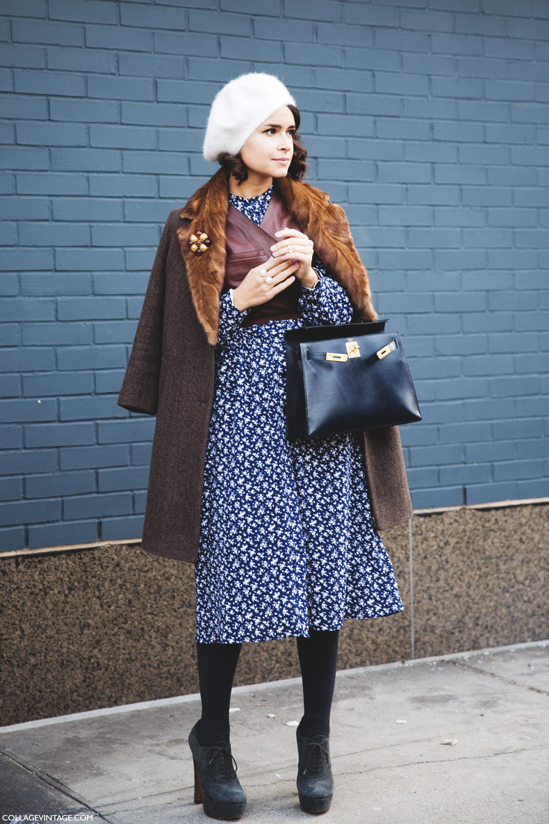 New_York_Fashion_Week-Street_Style-Fall_Winter-2015-Miroslava_Duma-Floral_Dress-LEather_Top-2