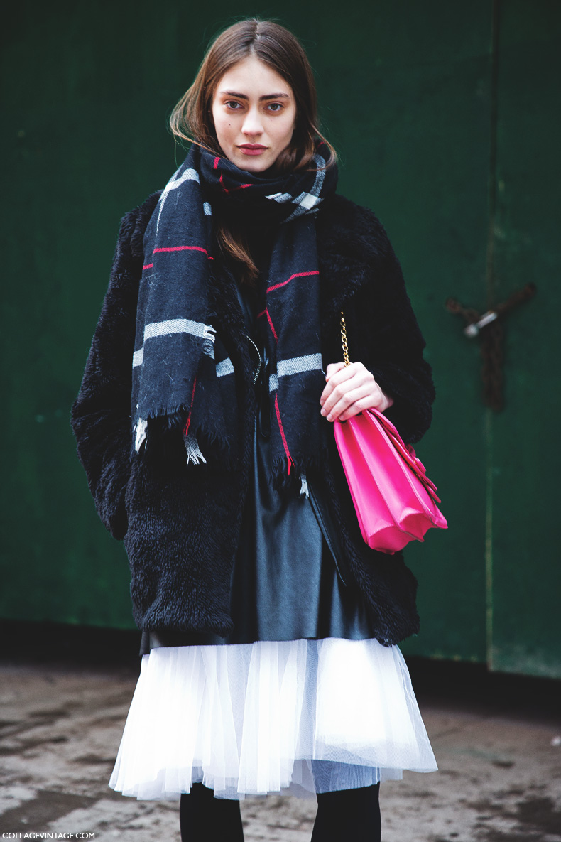 New_York_Fashion_Week-Street_Style-Fall_Winter-2015-Model-Tulle_Skirt-Checked_Scarf-