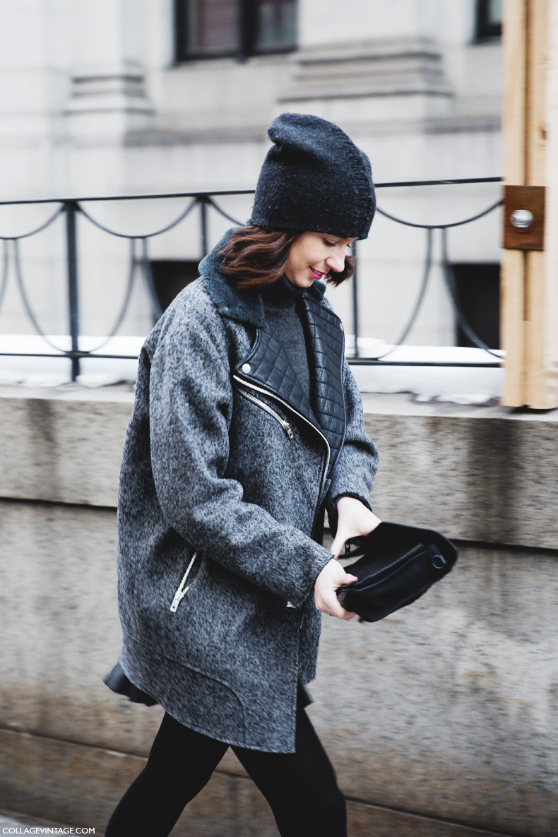 New_York_Fashion_Week-Street_Style-Fall_Winter-2015-Stripes_Fur_Coat-White_Boots-Beanie-GRey-Biker_Coat-