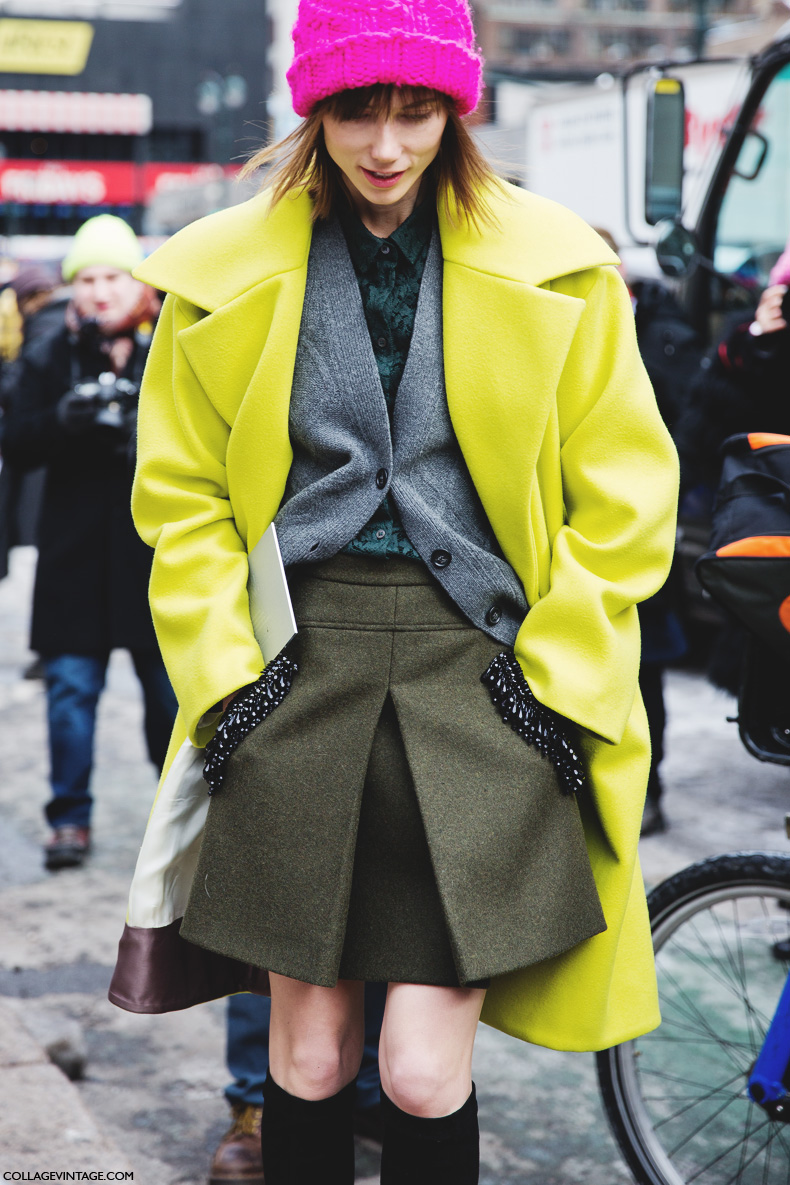 New_York_Fashion_Week-Street_Style-Fall_Winter-2015-Green_Coat-Pink_Beanie-Anya_Ziourova-3