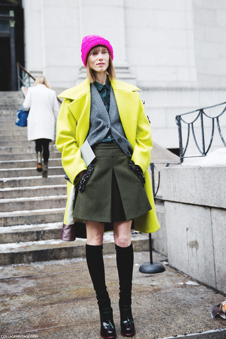 New_York_Fashion_Week-Street_Style-Fall_Winter-2015-Green_Coat-Pink_Beanie-Anya_Ziourova-1