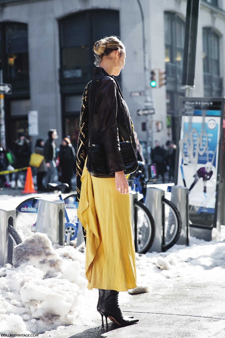 New_York_Fashion_Week-Street_Style-Fall_Winter-2015-Yellow_Dress-Bun-