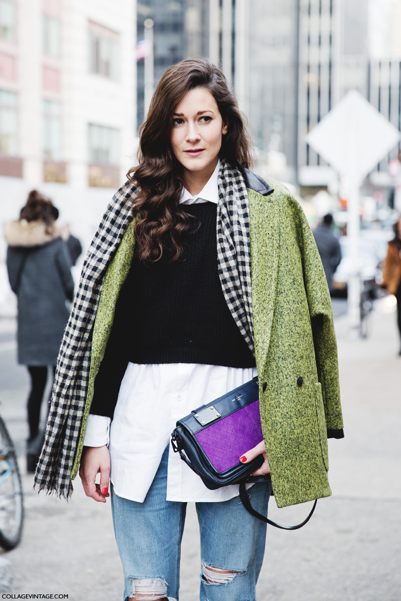 New_York_Fashion_Week-Street_Style-Fall_Winter-2015-Stripes_Fur_Coat-White_Boots-Green_Coat-Ripped_Jeans-Wave_Hair-