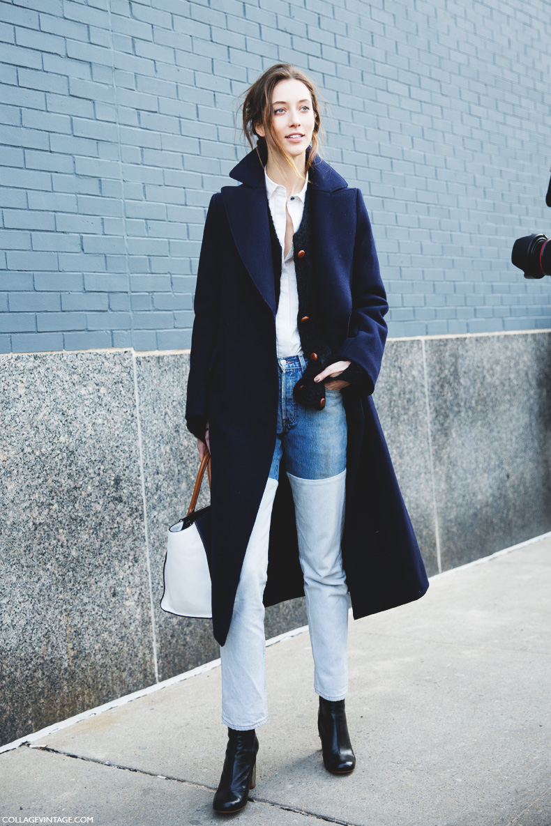 New_York_Fashion_Week-Street_Style-Fall_Winter-2015-Model-Panel_Jeans-Blue_Coat-
