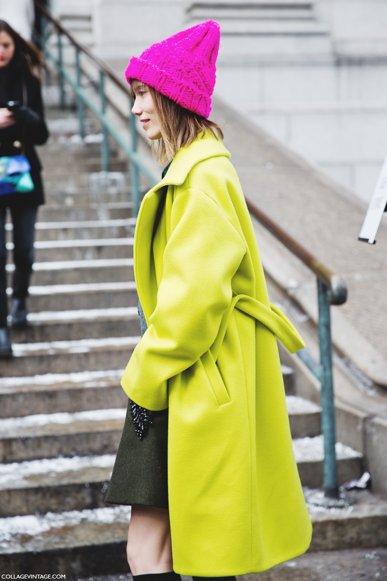 New_York_Fashion_Week-Street_Style-Fall_Winter-2015-Green_Coat-Pink_Beanie-Anya_Ziourova-
