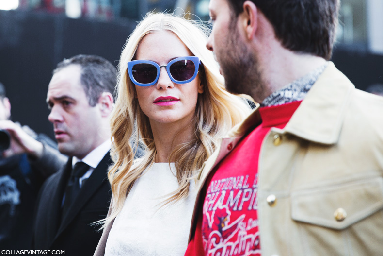 London_Fashion_Week-Street_Style-Fall_Winter_14-Poppy_Delevigne-Topshop_Unique-Shorts-Blue_Sunglasses-2