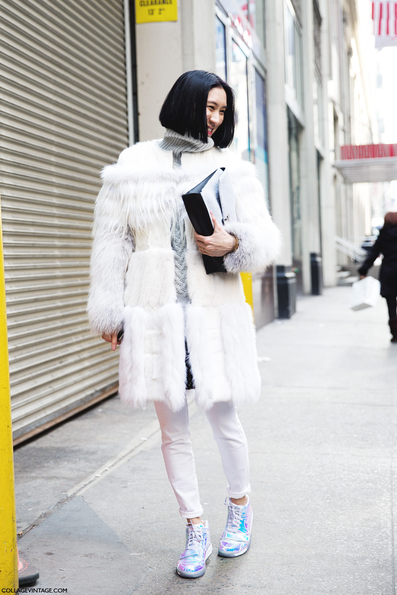 New_York_Fashion_Week-Street_Style-Fall_Winter-2015-Eva_Chen-White_Outfit-Fur_Coat-Sneakers-