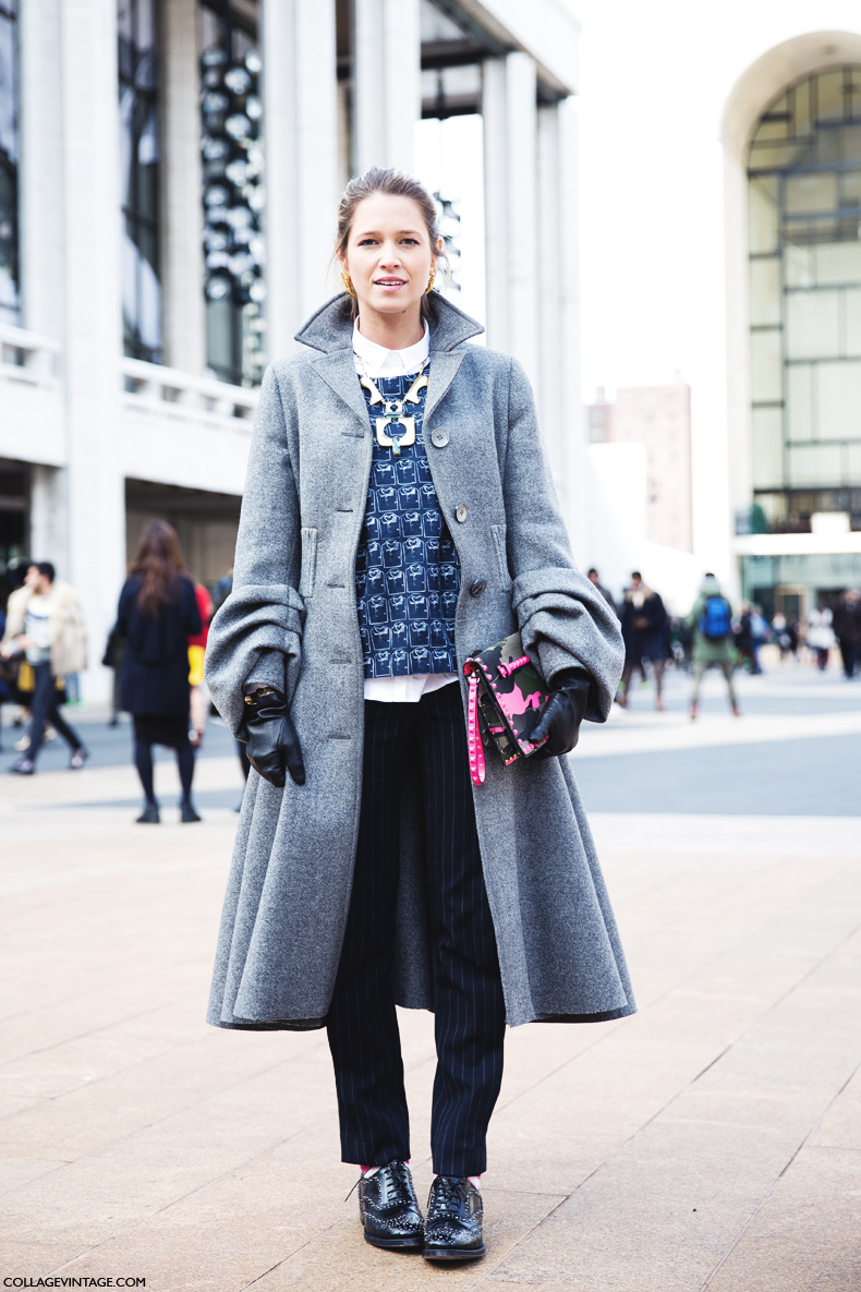 New_York_Fashion_Week-Street_Style-Fall_Winter-2015-Helena_Bordon-Pinstripe-GRey_Coat.