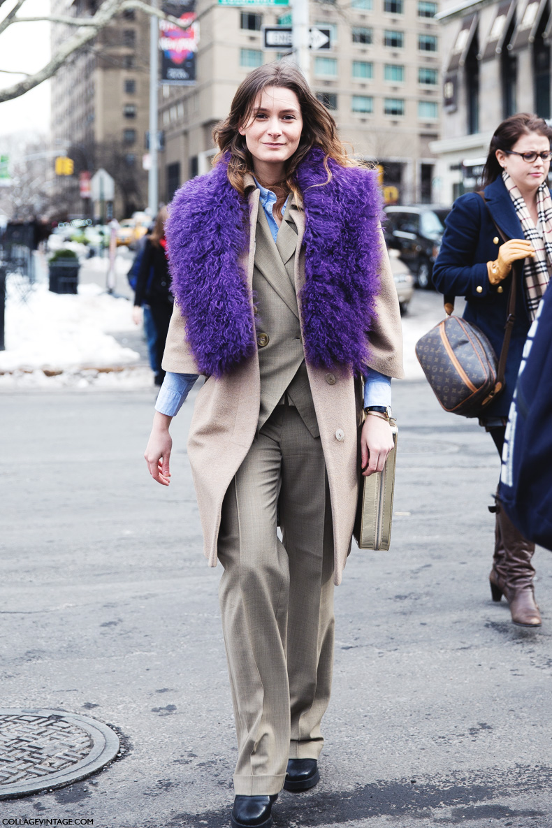 New_York_Fashion_Week-Street_Style-Fall_Winter-2015-Purple_Scarf-Suit-