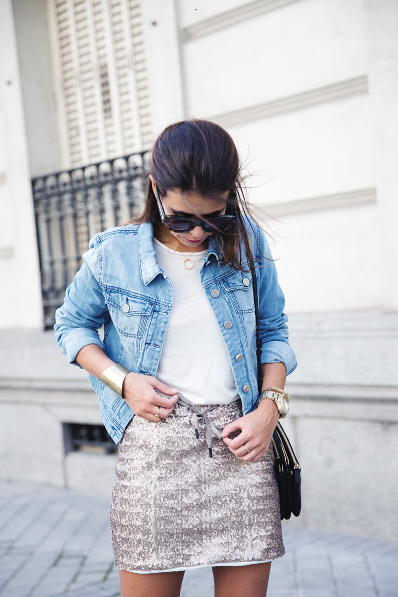 Sequined_Skirt-Denim_Jacket-Street_Style-outfit-