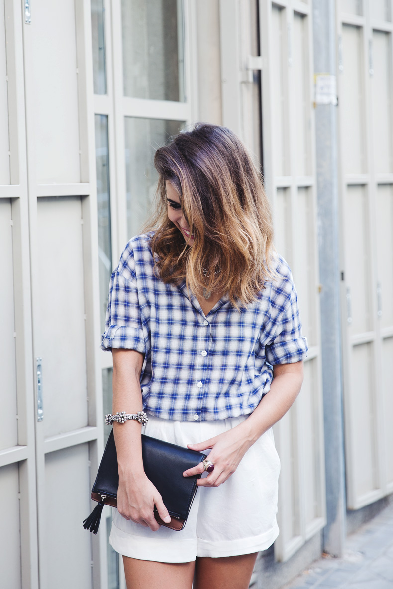 Tartan_Shirt-Olive_Clothing-White_Shorts-Outfit-Street_style-