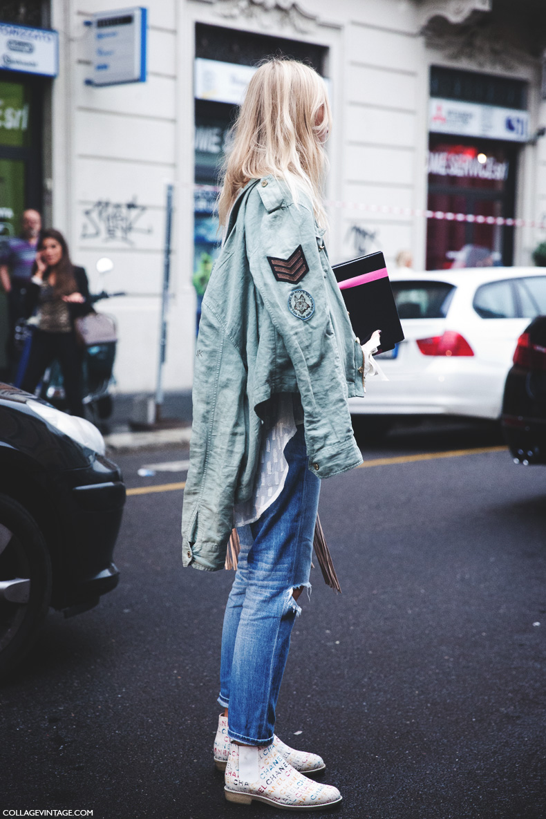 Milan_Fashion_Week_Spring_Summer_15-MFW-Street_Style-Chanel_Chelsea_Boots-Militar_Jacket-Ripped_Jeans-