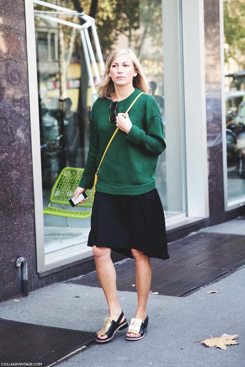 Milan_Fashion_Week_Spring_Summer_15-MFW-Street_Style-Green_Sweater-Midi_Skirt-