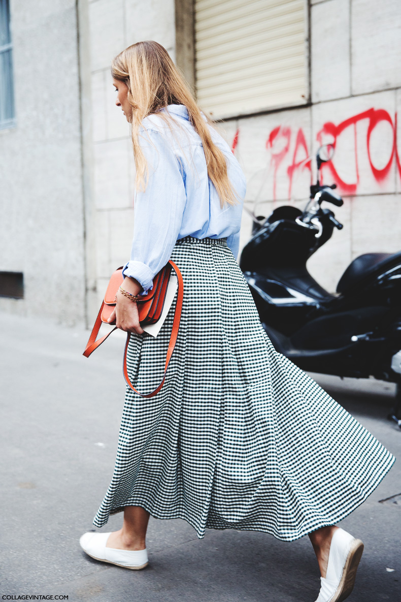 Milan_Fashion_Week_Spring_Summer_15-MFW-Street_Style-Midi_Skirt-Blue_Shirt-