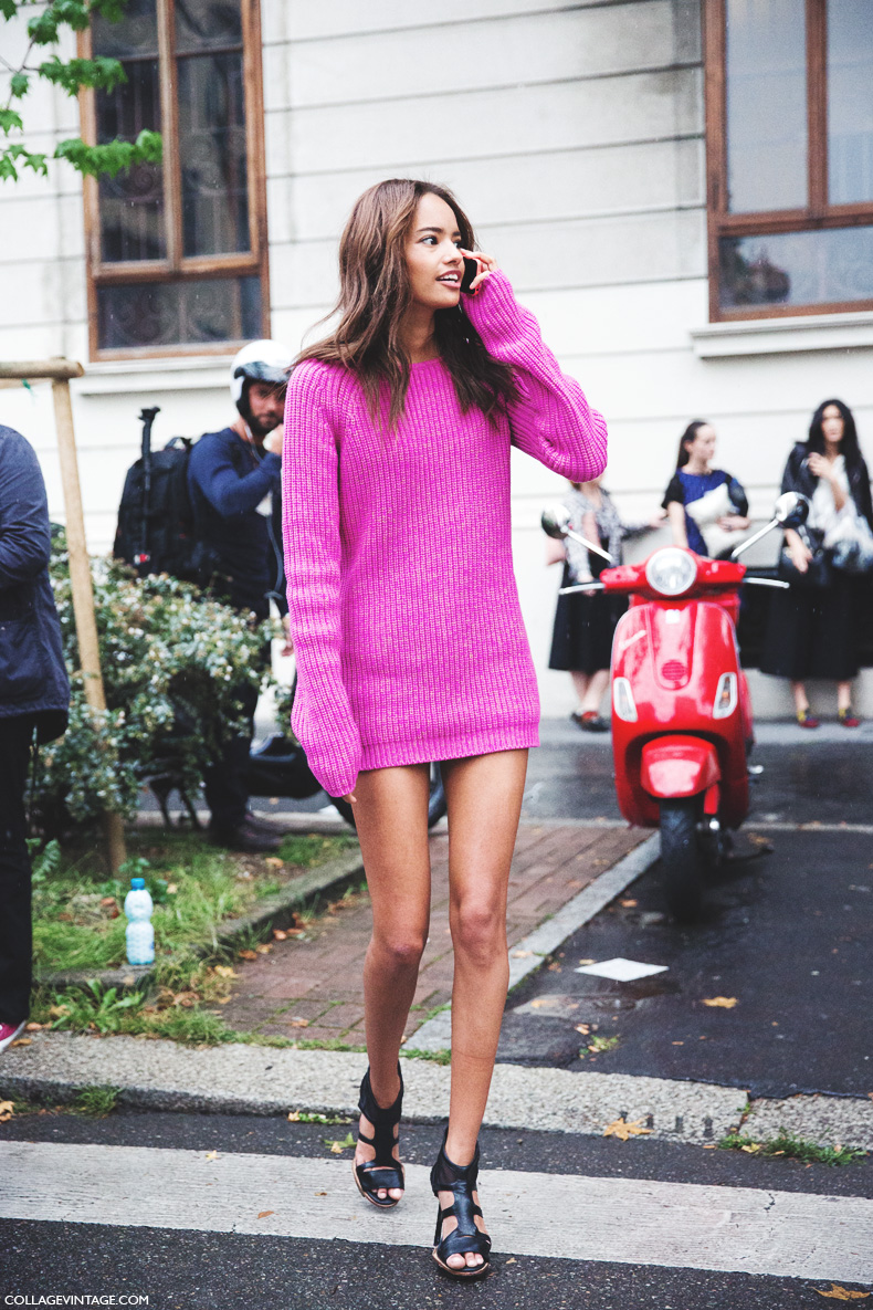 Milan_Fashion_Week_Spring_Summer_15-MFW-Street_Style-Pink_jumper-Malaika_Firth-1