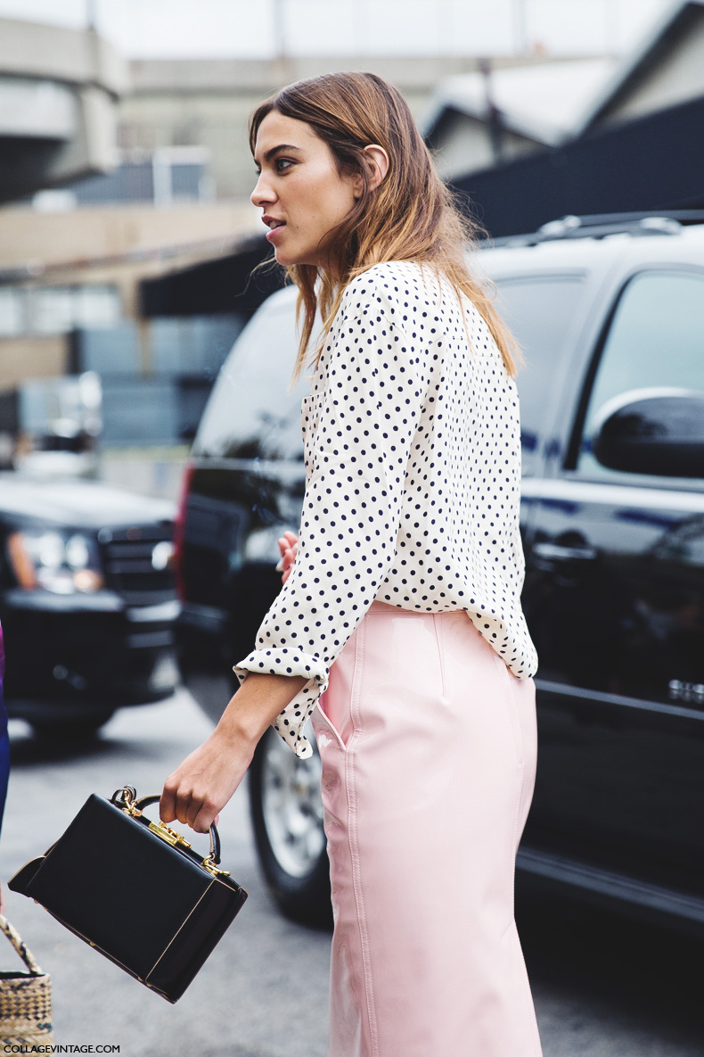 New_York_Fashion_Week_Spring_Summer_15-NYFW-Street_Style-Alexa_Chung-Marc_By_Marc_Jacobs-Pink_Skirt-Dots_Shirt-
