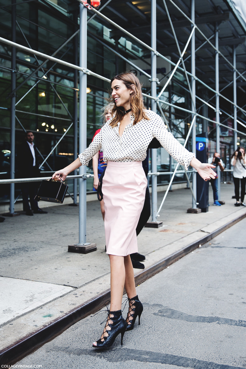 New_York_Fashion_Week_Spring_Summer_15-NYFW-Street_Style-Alexa_Chung-Marc_By_Marc_Jacobs-Pink_Skirt-Dots_Shirt-17