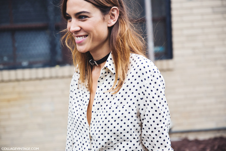 New_York_Fashion_Week_Spring_Summer_15-NYFW-Street_Style-Alexa_Chung-Marc_By_Marc_Jacobs-Pink_Skirt-Dots_Shirt-20