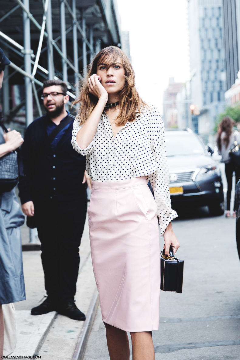 New_York_Fashion_Week_Spring_Summer_15-NYFW-Street_Style-Alexa_Chung-Marc_By_Marc_Jacobs-Pink_Skirt-Dots_Shirt-6