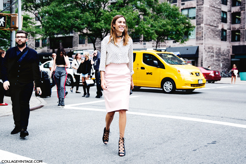 New_York_Fashion_Week_Spring_Summer_15-NYFW-Street_Style-Alexa_Chung-Marc_By_Marc_Jacobs-Pink_Skirt-Dots_Shirt-8