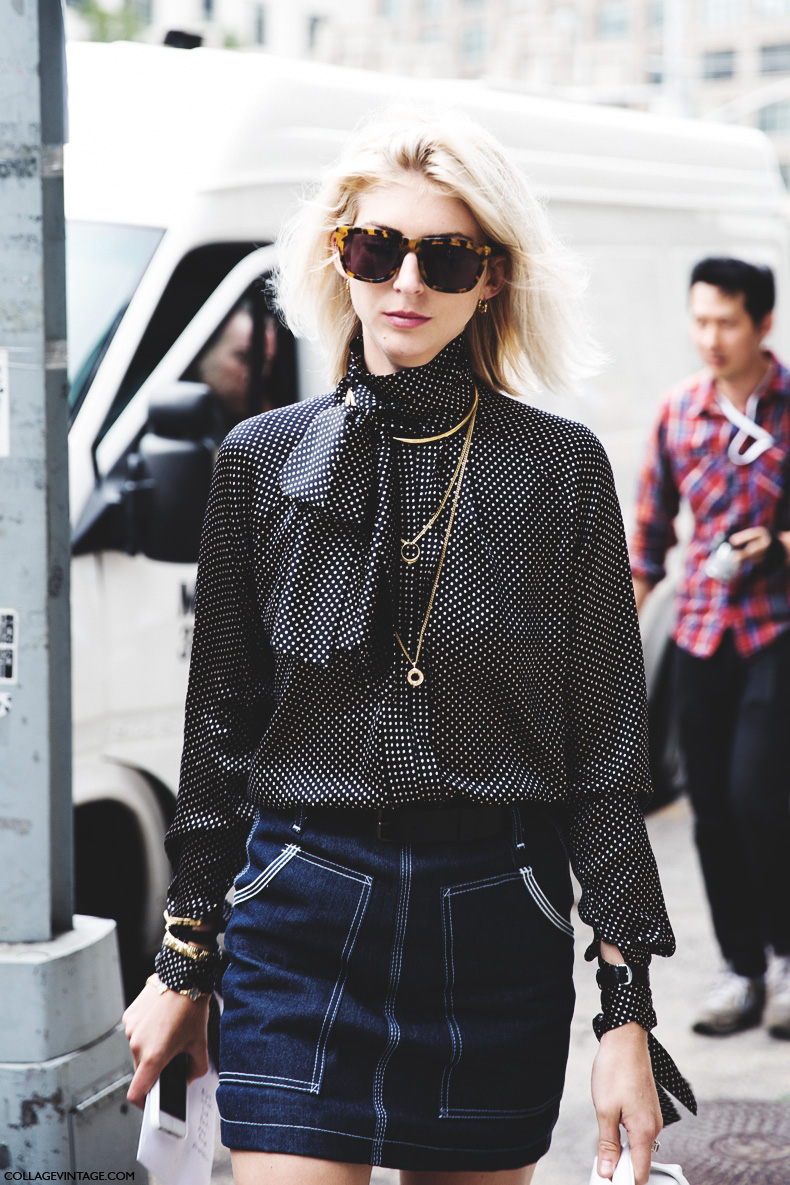 New_York_Fashion_Week_Spring_Summer_15-NYFW-Street_Style-Denim_Skirt-Dots_Shirt-