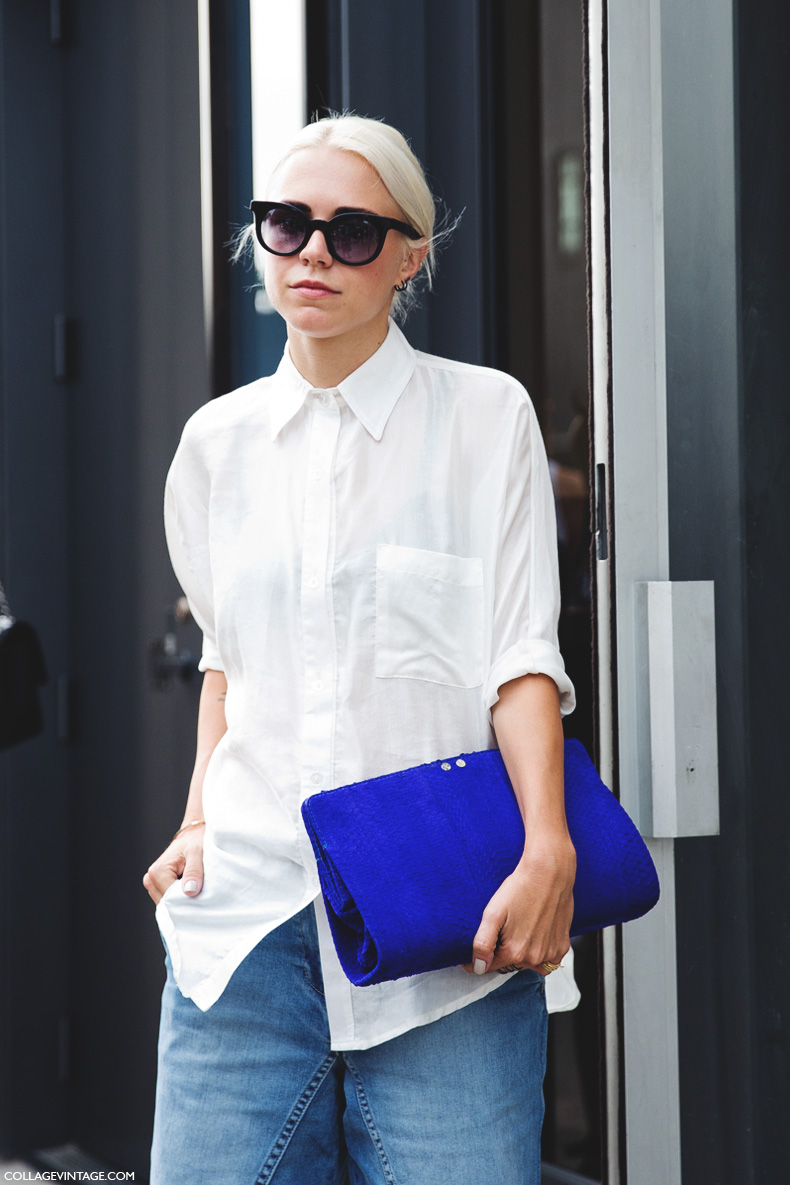 New_York_Fashion_Week_Spring_Summer_15-NYFW-Street_Style-White_Shirt-Denim_Culottes-Tibi-