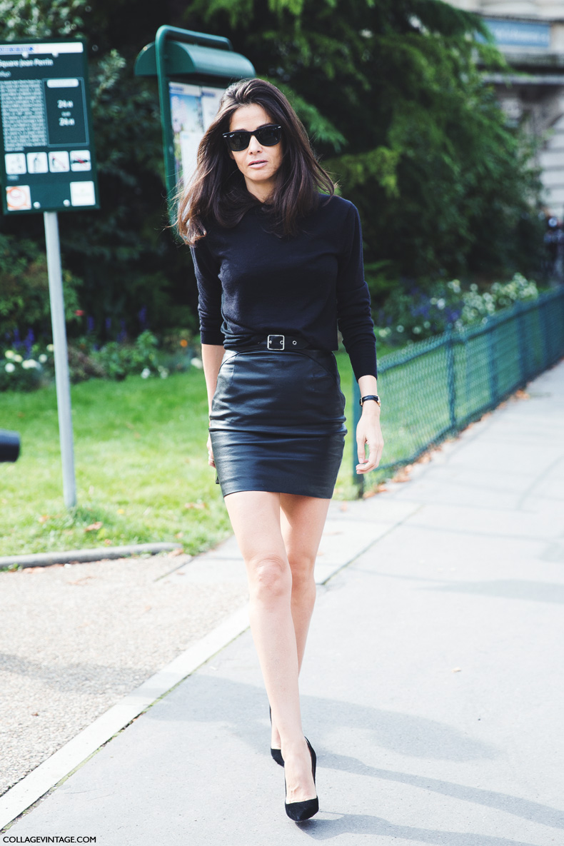 Paris_Fashion_Week_Spring_Summer_15-PFW-Street_Style-Barbara_Martello-Total_Black-Leather_Skirt-