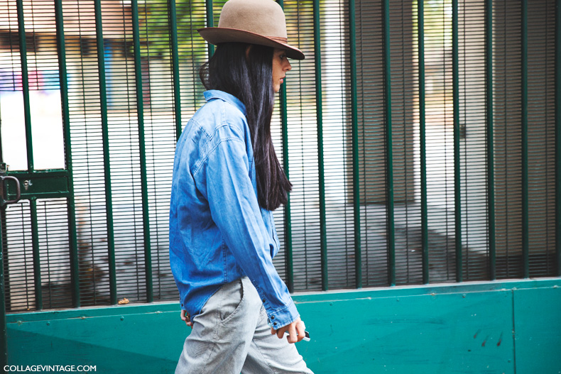 Paris_Fashion_Week_Spring_Summer_15-PFW-Street_Style-Denim_Shirt-Camel_Hat