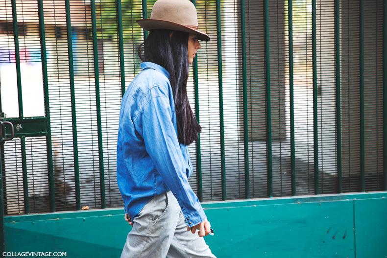 Paris_Fashion_Week_Spring_Summer_15-PFW-Street_Style-Denim_Shirt-Camel_Hat