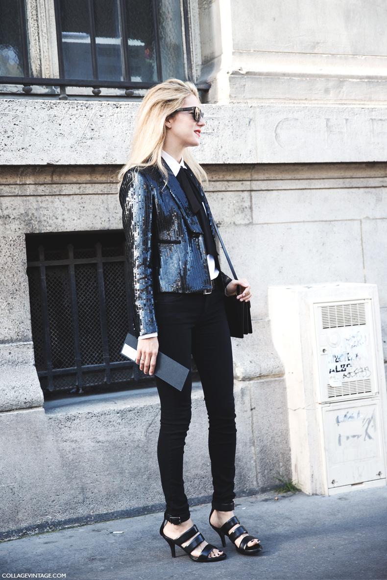 Paris_Fashion_Week_Spring_Summer_15-PFW-Street_Style-Joanna_Hillman-Sequins_Jacket-Bow_Shirt-