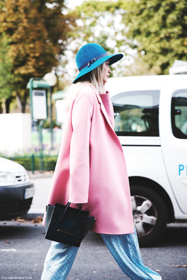 Paris_Fashion_Week_Spring_Summer_15-PFW-Street_Style-Pink_Coat-Hat-Celine_Bag-