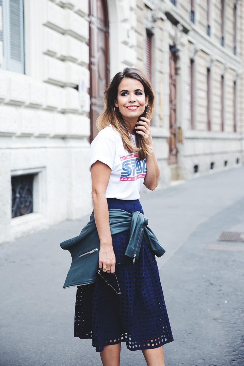 Space_Top-Reiss_Skirt-Midi_Skirt_Trend-Green_Biker-Street_Style-MFW-Milan_Fashion_Week-1