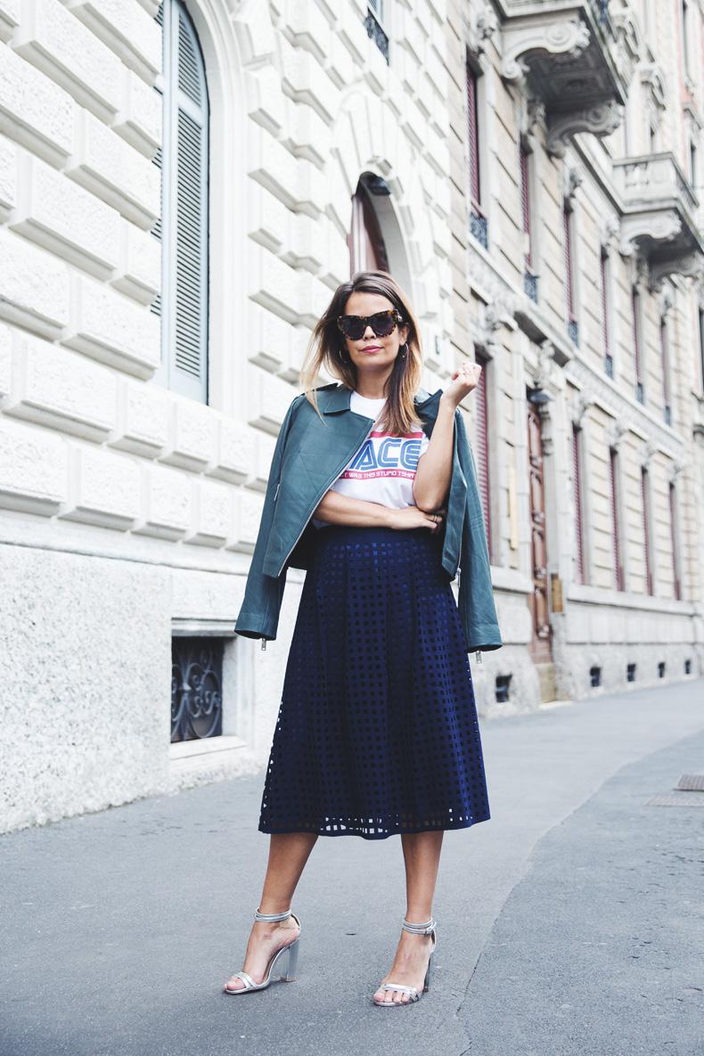 Space_Top-Reiss_Skirt-Midi_Skirt_Trend-Green_Biker-Street_Style-MFW-Milan_Fashion_Week-7