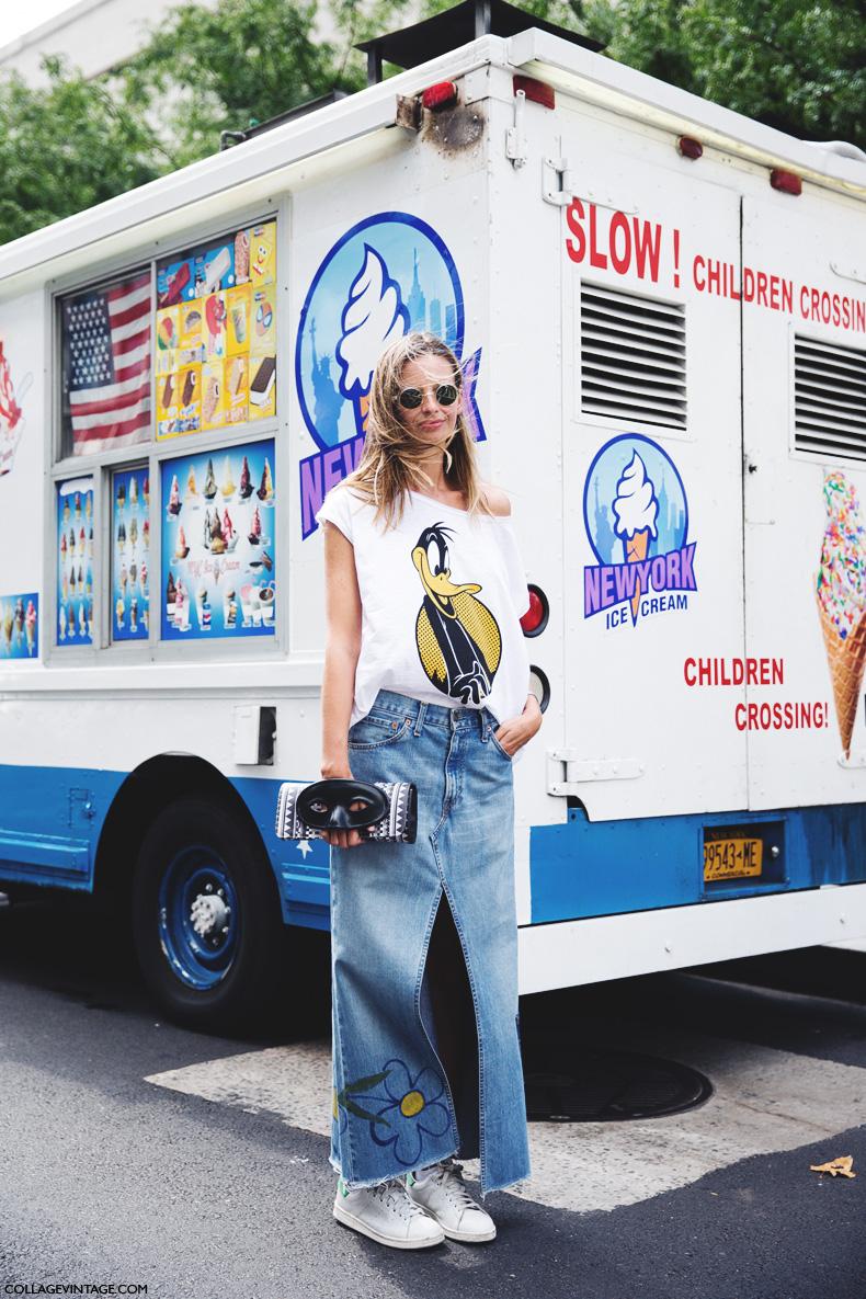 New_York_Fashion_Week_Spring_Summer_15-NYFW-Street_Style-Denim_Long_Skirt-Adidas_Stan_Smith-