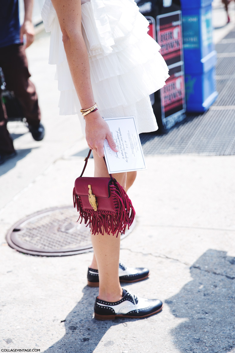 New_York_Fashion_Week_Spring_Summer_15-NYFW-Street_Style-Ruffle_Top-Fringed_Bag-Oxfords-