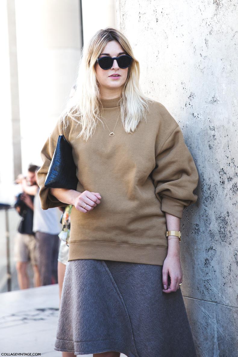 Paris_Fashion_Week_Spring_Summer_15-PFW-Street_Style-Camille_Charriere-Grey_Skirt-Oversize_Sweatshirt-