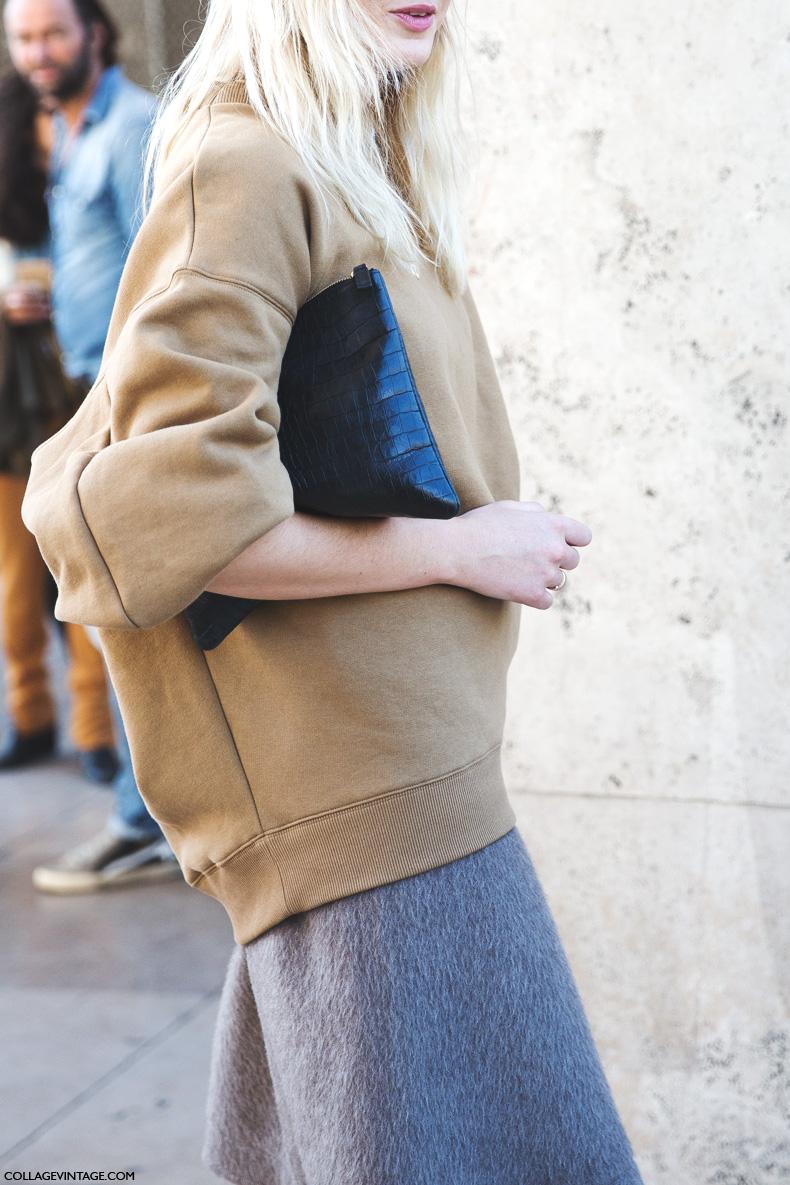 Paris_Fashion_Week_Spring_Summer_15-PFW-Street_Style-Camille_Charriere-Grey_Skirt-Oversize_Sweatshirt-1