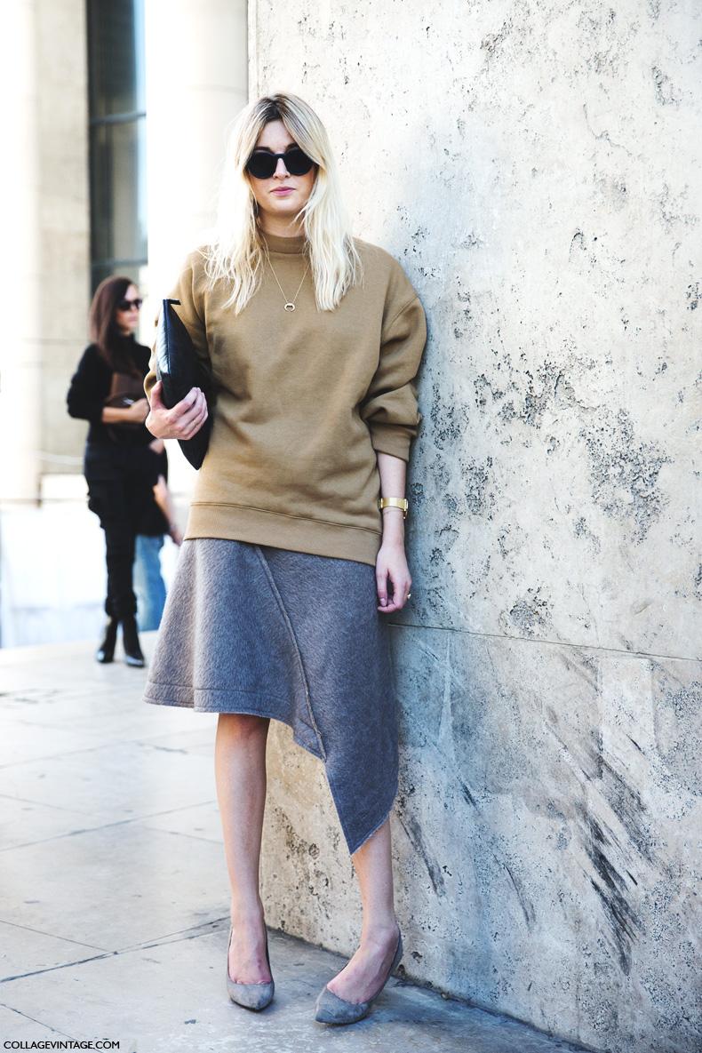 Paris_Fashion_Week_Spring_Summer_15-PFW-Street_Style-Camille_Charriere-Grey_Skirt-Oversize_Sweatshirt-2