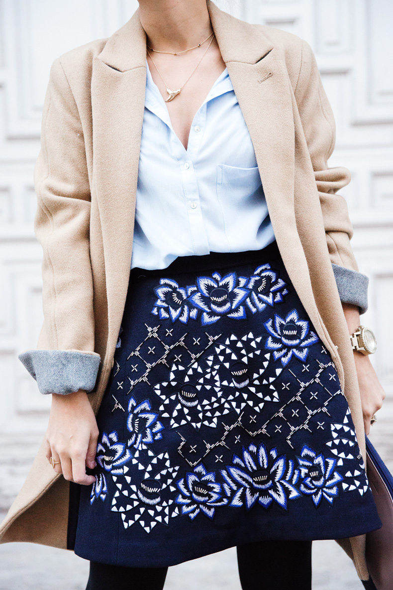AnhHa-Embroidered_Skirt-Camel_Coat-Blue_Shirt-Outfit-Street_Style-2