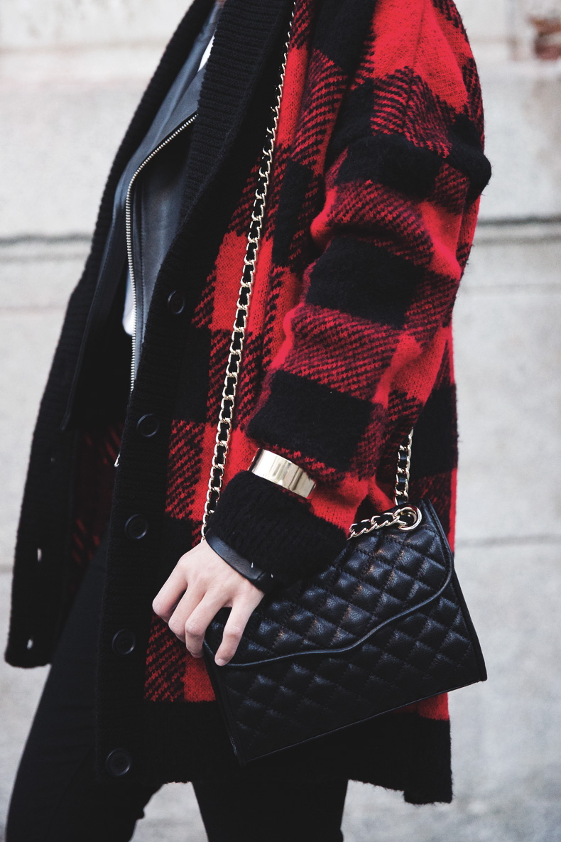 Checked_Cardigan-Black_And_Red-Balenciaga_Boots-Outfit-Rebecca_Minkoff-Quilted_Bag-Street_style-32