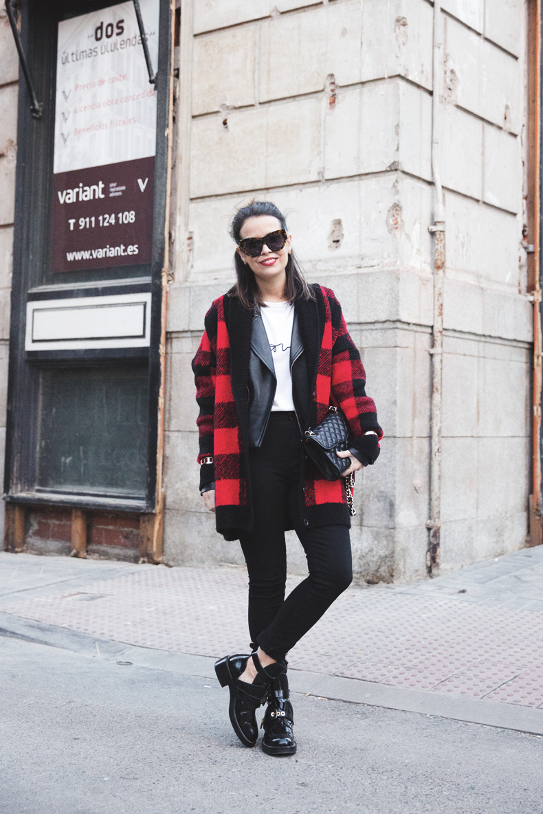 Checked_Cardigan-Black_And_Red-Balenciaga_Boots-Outfit-Rebecca_Minkoff-Quilted_Bag-Street_style-35