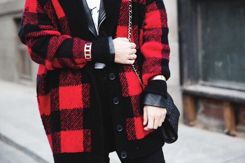 Checked_Cardigan-Black_And_Red-Balenciaga_Boots-Outfit-Rebecca_Minkoff-Quilted_Bag-Street_style-43