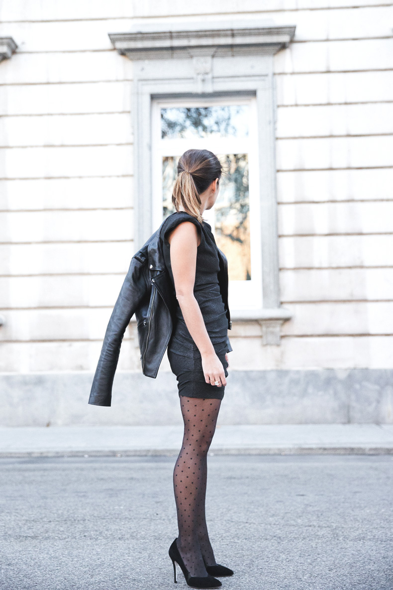 Maje_Evening_Capsule-Outfit-Drapped_Dress-Biker_Jacket-Collage_Vintage-Night_Look-10