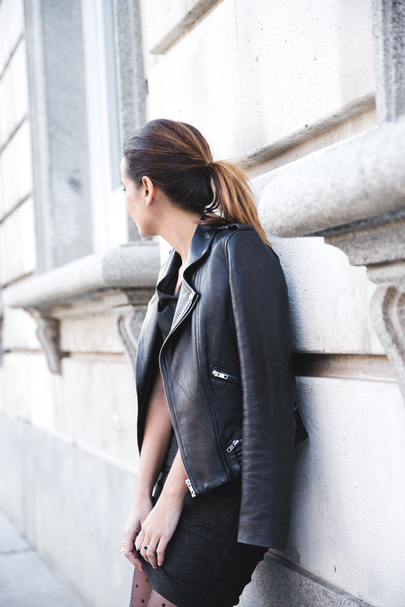 Maje_Evening_Capsule-Outfit-Drapped_Dress-Biker_Jacket-Collage_Vintage-Night_Look-17